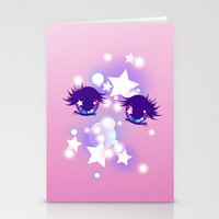 pastel goth Stationery Cards featuring Fairy Kei Pastel Goth Dreamy Shoujo Manga Eyes by KawaiiMachine