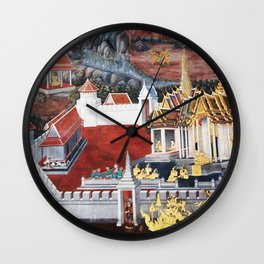Wall painting from the Grand Palace in Bangkok, Thailand Wall Clock