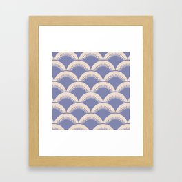 Japanese Fan Pattern Lavender and Beige Framed Art Print