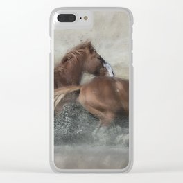 Mustangs Getting Out of a Muddy Waterhole the Fast Way painterly Clear iPhone Case