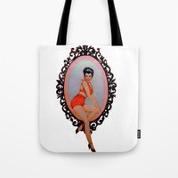 pin up Tote Bags featuring Pin Up by Lydia Dick