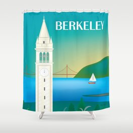 Berkeley, California - Skyline Illustration by Loose Petals Shower Curtain