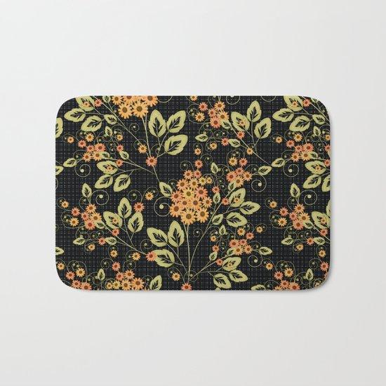 Bright floral pattern on a black background. Bath Mat