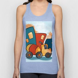 Cement Mixer, Construction Truck, Perfect for Child's Bedroom or Kid's Playroom Unisex Tank Top