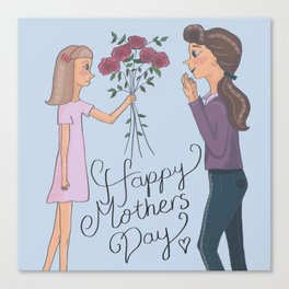 Happy Mothers Day - Illustration of Mother and Daughter Canvas Print