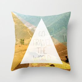 Go travel the world - rice field and geometric typography art Throw Pillow