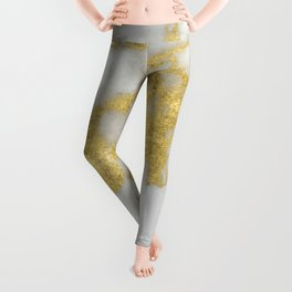 Marble - Yellow Gold Marble Foil on White Pattern Leggings