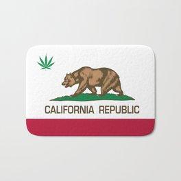 California Republic state flag with green Cannabis leaf Bath Mat