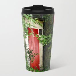 The Red Outhouse Door Travel Mug