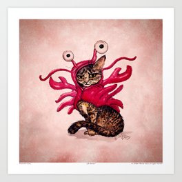 """""""The Lobster"""" by Amber Marine ~ Tabby Cat in Lobster Costume, Watercolor and Ink, (c) 2015 Art Print"""
