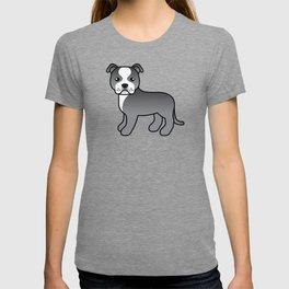Blue And White English Staffordshire Bull Terrier Cartoon Dog T-shirt