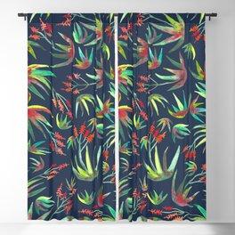 Aloe Succulents Watercolor Pattern Navy Blackout Curtain
