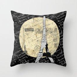 Eiffel Tower Moon Throw Pillow