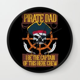 PIRATES: Pirate Dad Freebooter Jolly Skull Family Father's day Gift Wall Clock