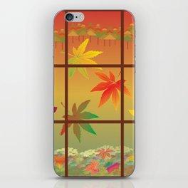 Falling Leaves on Window Pane iPhone Skin