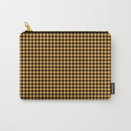 Bright Chalky Pastel Orange and Black Buffalo Check Carry-All Pouch