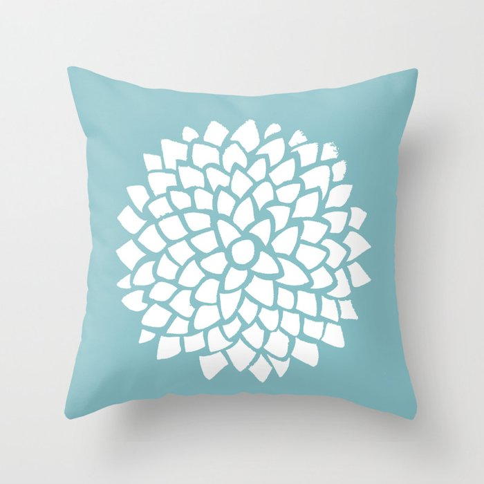 Teal Dahlia Throw Pillow By Colorandform