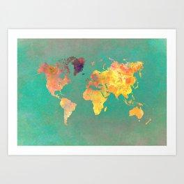 world map 103 #worldmap #map Art Print