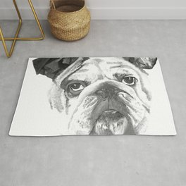 Portrait Of An American Bulldog In Black and White Rug