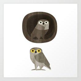 Two little owls Art Print