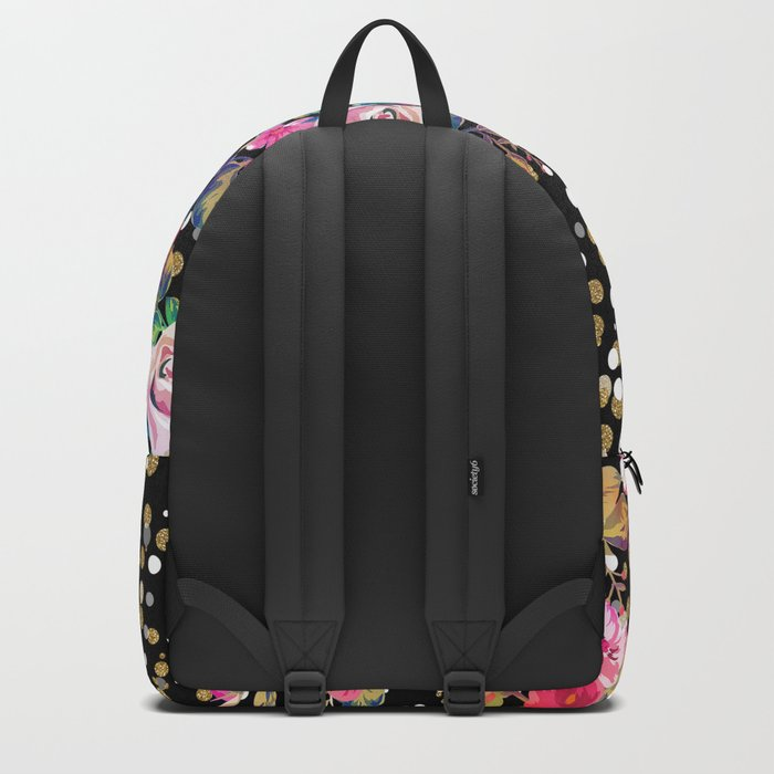 Modern watercolor spring floral and gold dots pattern Rucksack