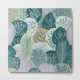 Forest Woodland Trees, Green, Floral Prints Metal Print