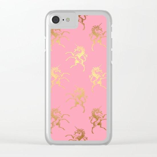 Gold elegant Unicorns on pink pattern Clear iPhone Case