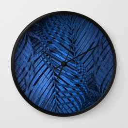 TROPICAL BLUE LEAVES PATTERN Wall Clock