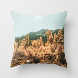Rustic Autumn Beauty // Golden Yellow and Orange Leaves in the Forest Throw Pillow