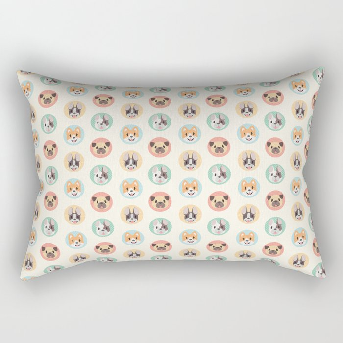 Circle Pup Pattern Rectangular Pillow