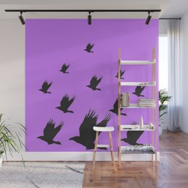 FLYING FLOCK BLACK CROWS/RAVENS ON LILAC COLOR Wall Mural