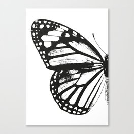 Monarch Butterfly | Left Butterfly Wing | Vintage Butterflies | Black and White | Canvas Print