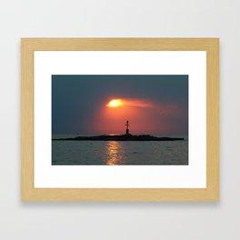 Sunset in Porec - Cloudy sky Framed Art Print