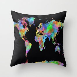world map watercolor black 2 Throw Pillow