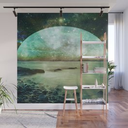 Green Mystic Lake : Fantasy Moon Landscape Wall Mural