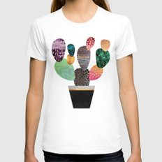 Pretty Cactus White X-LARGE Womens Fitted Tee