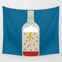 wine Wall Tapestries featuring wine bottle by Marco Recuero