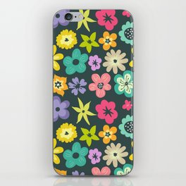 Artistic hand painted teal yellow violet floral illustration iPhone Skin