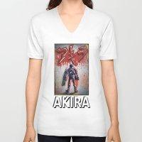 akira V-neck T-shirts featuring Akira by Joe Badon
