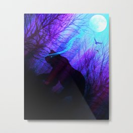 Grizzly Moon: Ultraviolet Metal Print