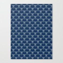 Indigo Blue Sashiko Hand Drawn Japanese Style Canvas Print