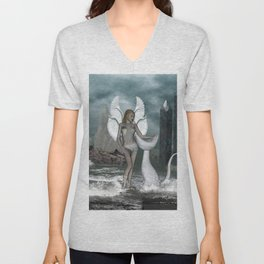 Beautiful fairy in the dreamworld Unisex V-Neck