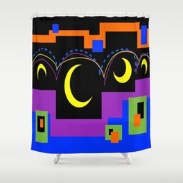 Hopping Over Crescent Moons Shower Curtain