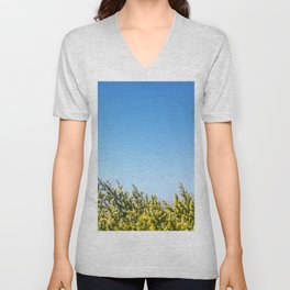 Blue sky copy space square background with coniferous fir tree Unisex V-Neck