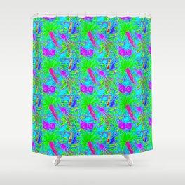 Carrot, Beet + Radish Medley in Neon Blue Shower Curtain