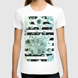 Succulents in the Garden Teal Blue Green Gradient with Black Stripes T-shirt