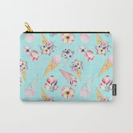 Pink & Teal Summer Fun Flower Ice Cream Cone - Pattern Carry-All Pouch