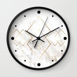 White Marble Gold Diamond Wall Clock