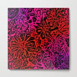 Marigold Lino Cut, Fuchsia Diagonal Gradient Metal Print