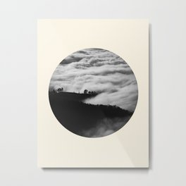 Intense Fog & Mountain Silhouette Black & White Round Photo Metal Print